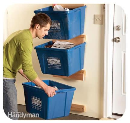 Wall recycling bins