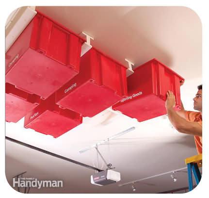 Ceiling storage bins
