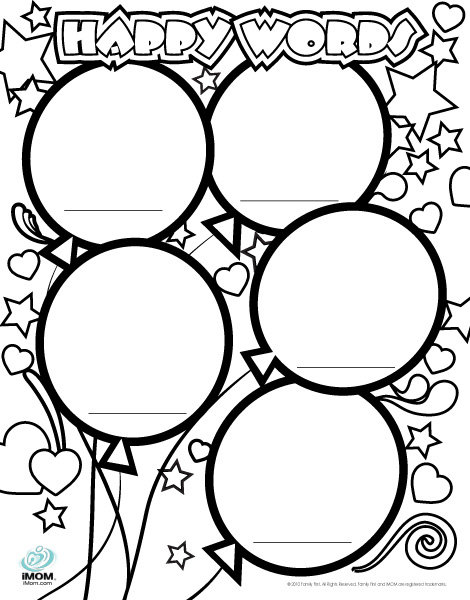 Happy Words Coloring Page - IMom