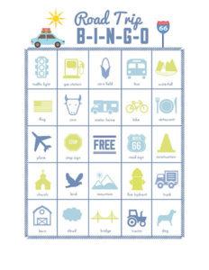 family games road trip bingo