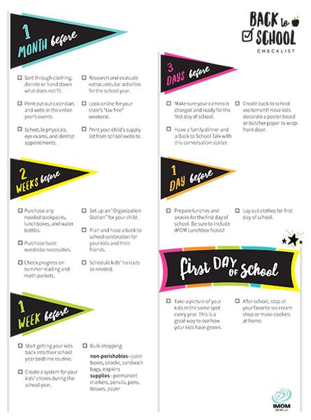 Back To School Checklist IMom