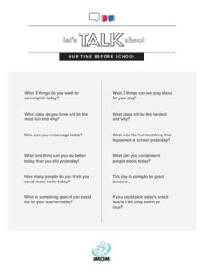 morning routine for school conversation starters