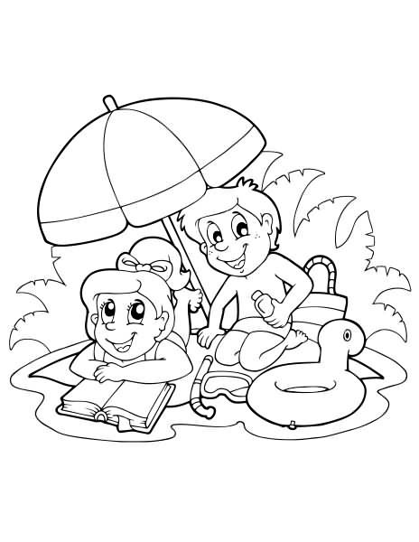 DOWNLOAD Beach Summer Coloring Page