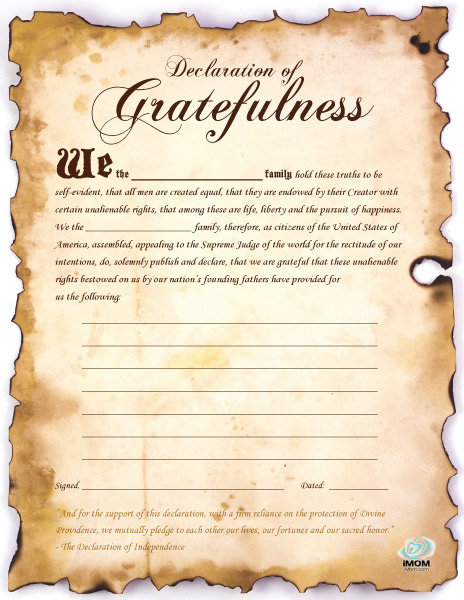 Declaration of Gratefulness Printable