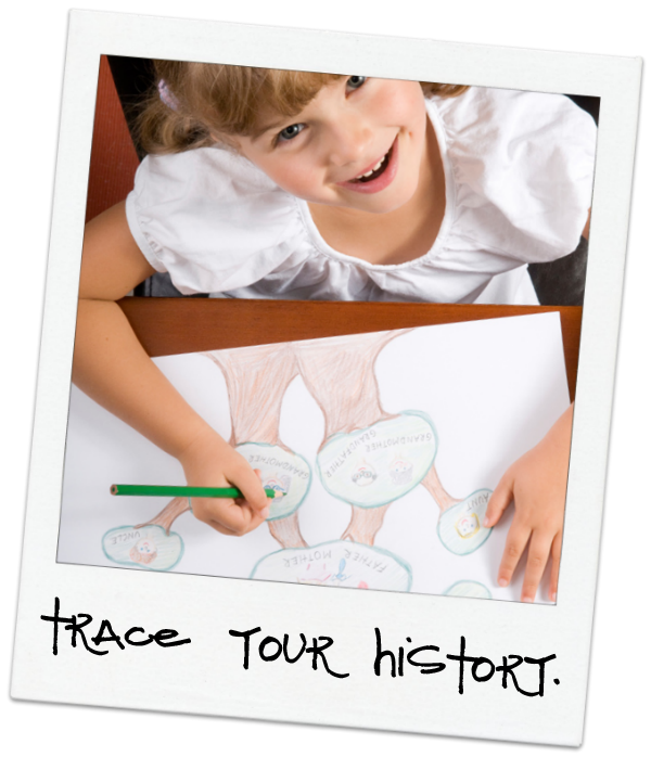 child writing family history