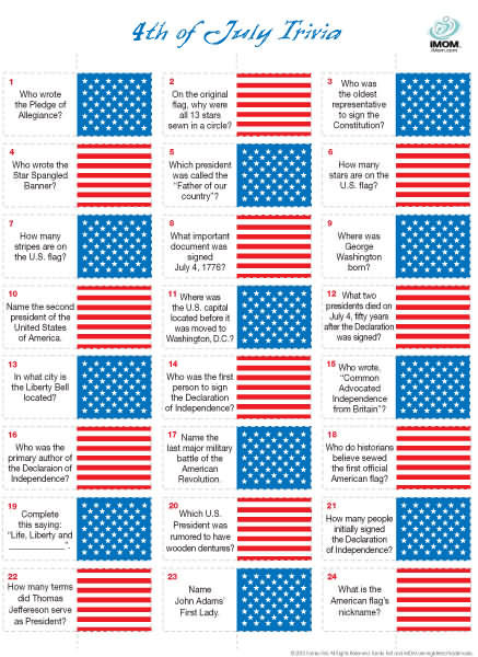 image about Winter Trivia Questions and Answers Printable referred to as Fourth of July Trivia Recreation - iMom