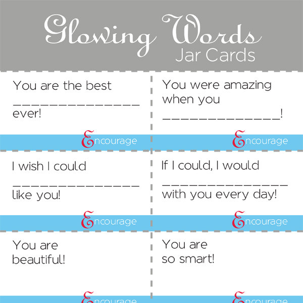 Glowing Words Jar Cards Service
