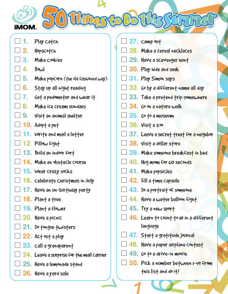 50 things to do this summer imom for Cool things to print out