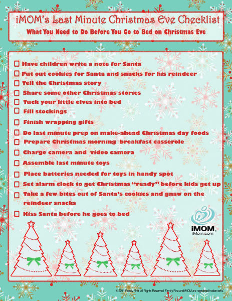 christmas eve checklist - What To Do On Christmas