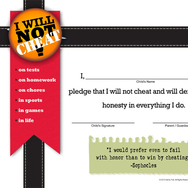 photograph relating to Texas Pledge Printable referred to as I Will Not Cheat Pledge - iMom