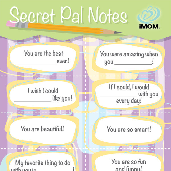 picture relating to Printable Secret Sister Questionnaire known as Mystery Close friend Notes - iMom