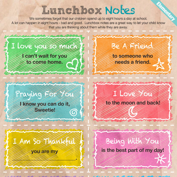 This is an image of Nifty Lunch Notes Ideas