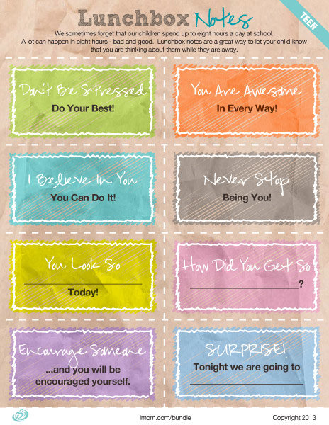 graphic about Free Printable Lunchbox Notes for Husband called Lunchbox Notes: Heart and Large Higher education - iMom