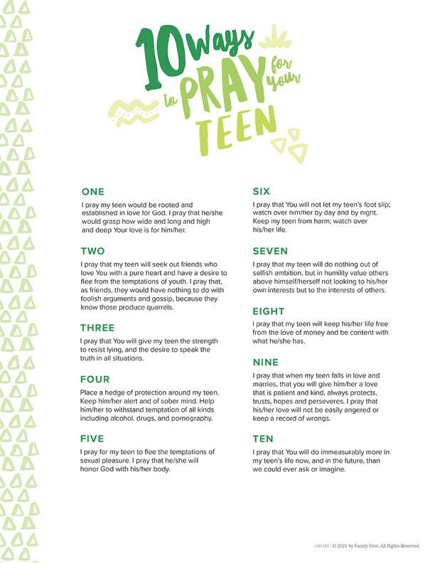 praying for teenagers