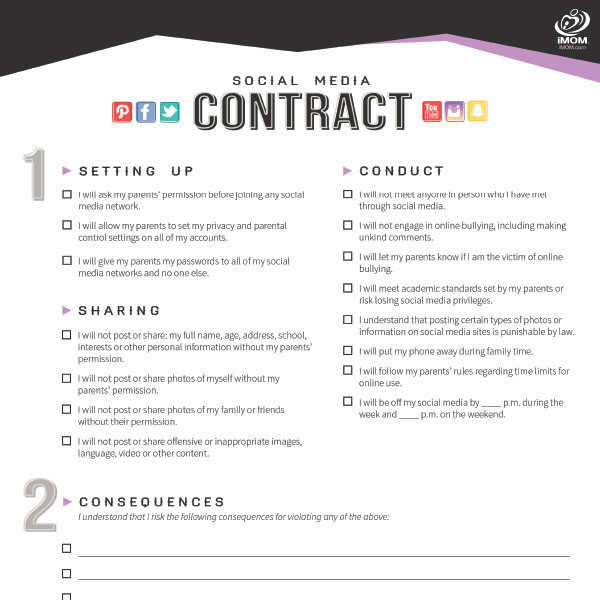 image regarding Printable Teenage Chore Contract identified as Free of charge Printable Contracts for Children and Teens! - iMOM