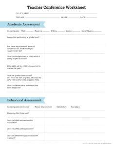 worksheet parent-teacher conference questions