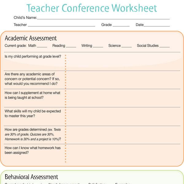 Teacher Conference Worksheet - iMom