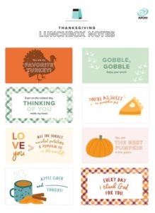 thanksgiving lunchbox notes