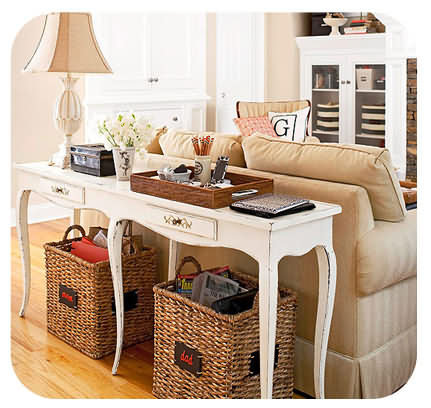 baskets under console table
