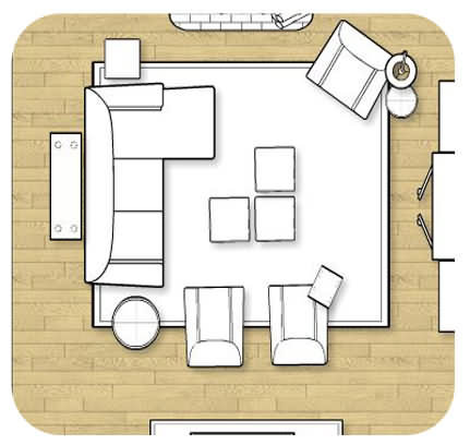 blueprint furniture arrangement idea