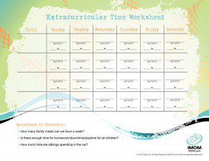 Extracurricular Time Worksheet
