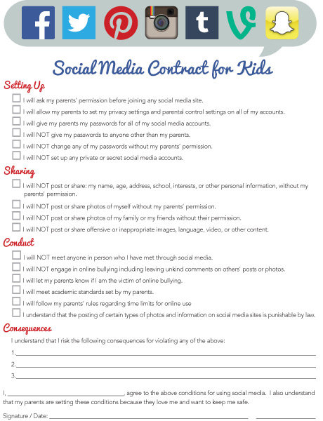 Social Media Contract for Kids iMom – Social Contract Template