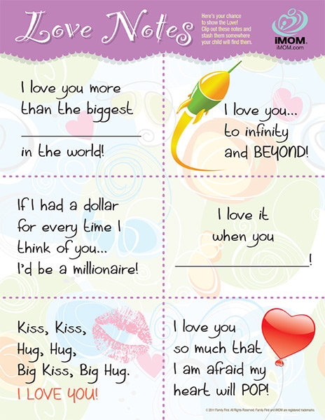 photo relating to Printable Love Note identify iMOM Appreciate Notes - iMom