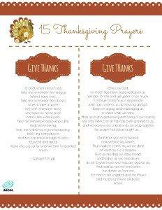 Thanksgiving Prayers Printable