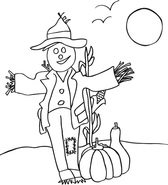 s is for scarecrow coloring pages - photo #17