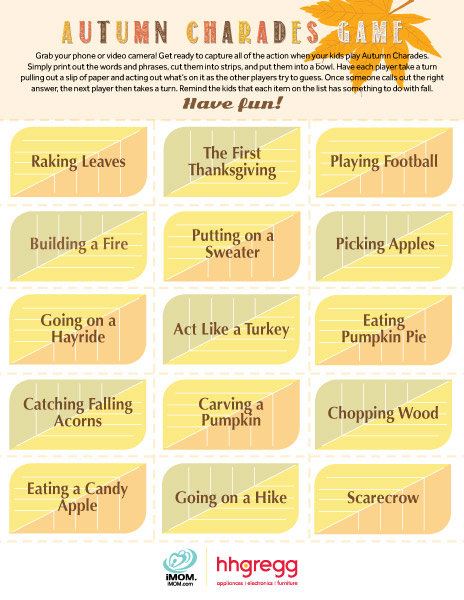 Autumn Charades Game Imom