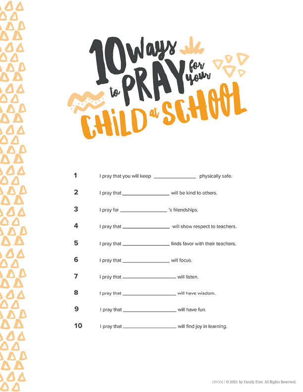 pray for your child at school