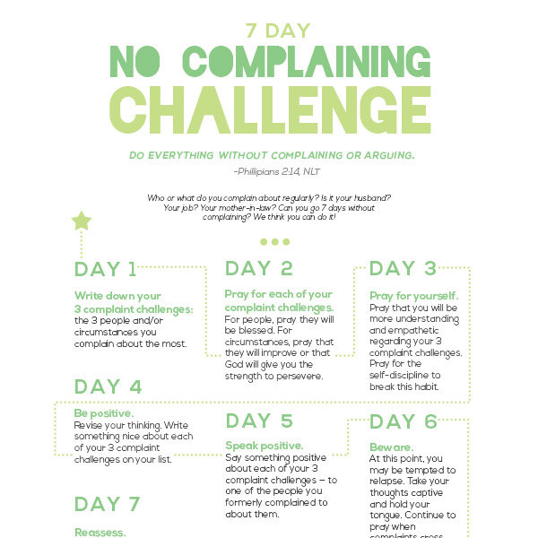 7 Day No Complaining Challenge Imom
