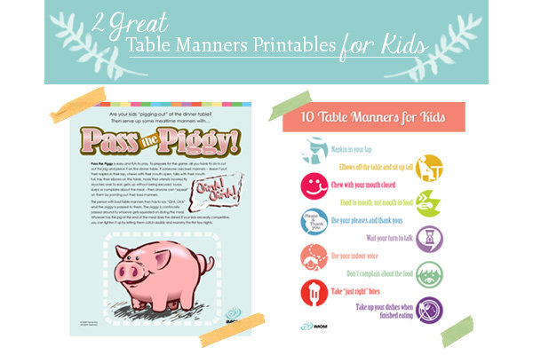 Two Great Table Manners For Kids Printables Imom