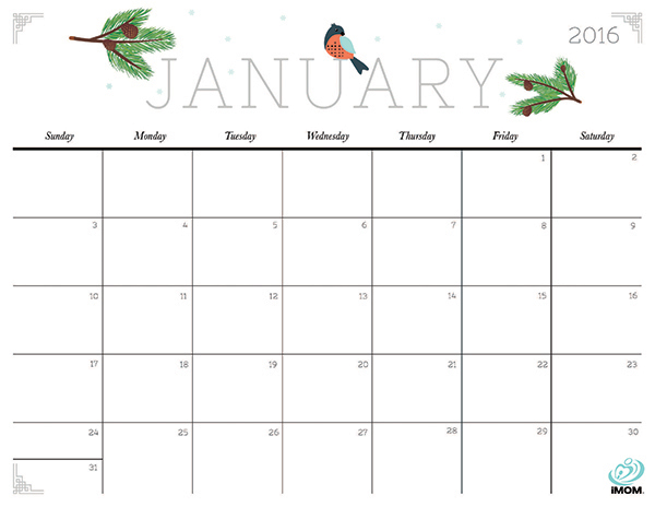Cute and Crafty 2016 Printable Calendar