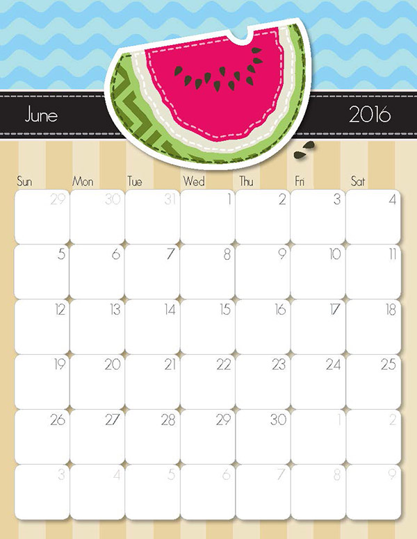 Calendar June To December : Printable calendar free handmade