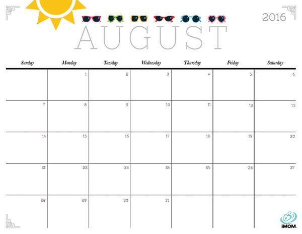 Cute August Calendar 2016 | Calendar Template 2016