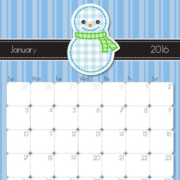 Calendar January 2015 Vertical