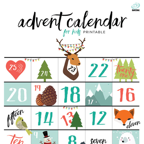 graphic regarding Free Printable Advent Calendar identified as Printable Arrival Calendar for Youngsters - iMom