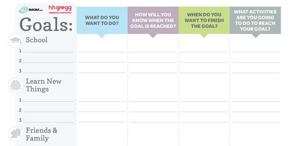Brilliant Goals Chart For Kids Imom