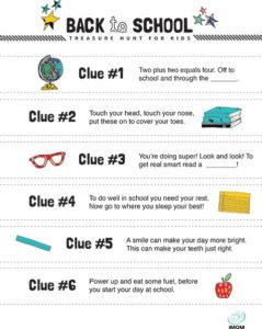 back-to-school activities treasure hunt