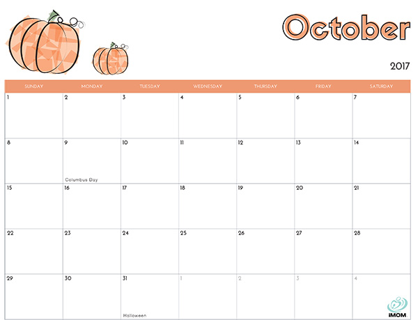 October Calendar 2017 Imom