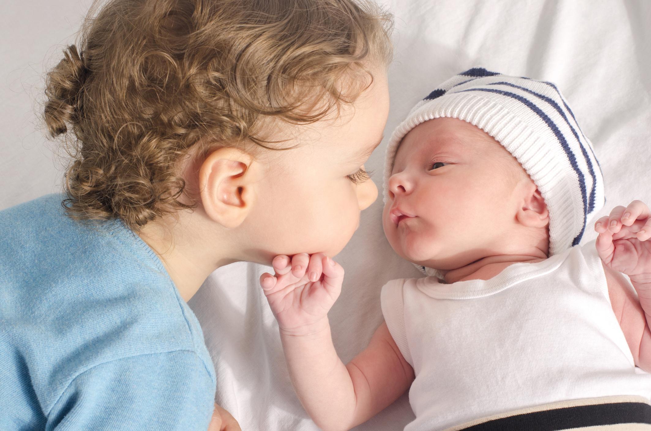 toddler and a newborn