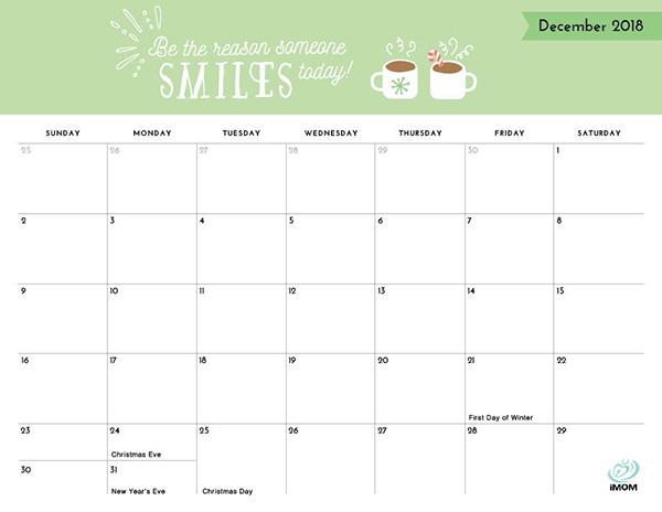 Positive Thoughts Printable 2018 Calendar - iMom