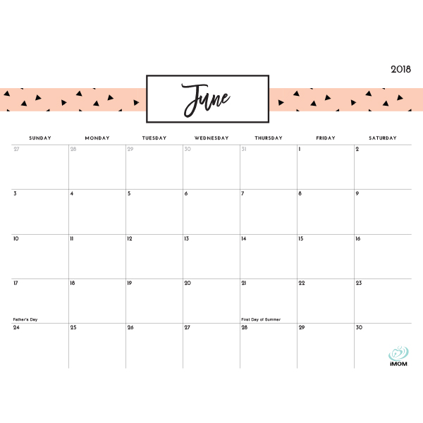 Pretty Patterns 2018 Printable Calendar - iMom