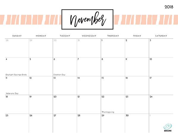 Pretty Patterns 2018 Printable Calendar - iMom