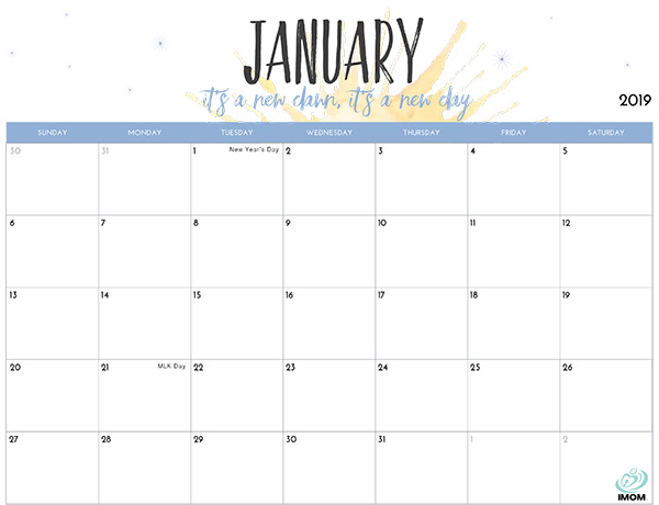 photograph about January Calendar Printable identified as 2019 Printable Calendar for Mothers - iMom