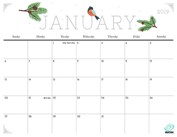 photograph relating to January Calendar Printable called Lovely and Cunning 2019 Calendar - iMom