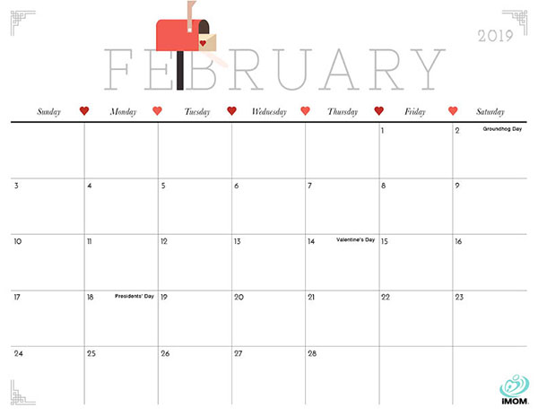 Cute 2019 February Calendar Cute and Crafty 2019 Calendar   iMom