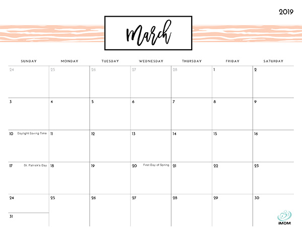 picture regarding Pretty Printable Calendar called Fairly Behavior 2019 Printable Calendar - iMom