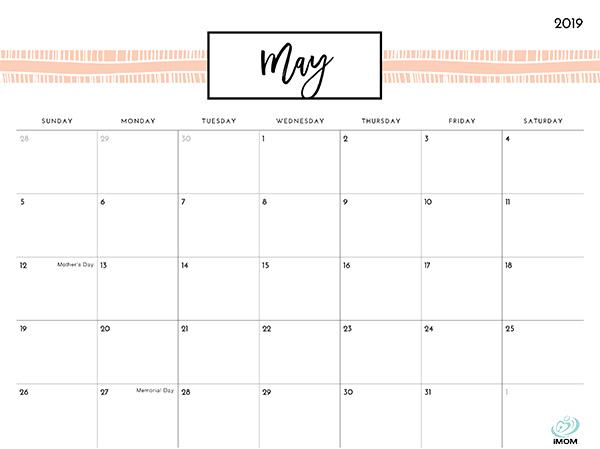 Pretty Patterns 2019 Printable Calendar - iMom